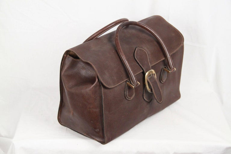 GUCCI VINTAGE Brown Leather TRAVEL BAG Weekender 2