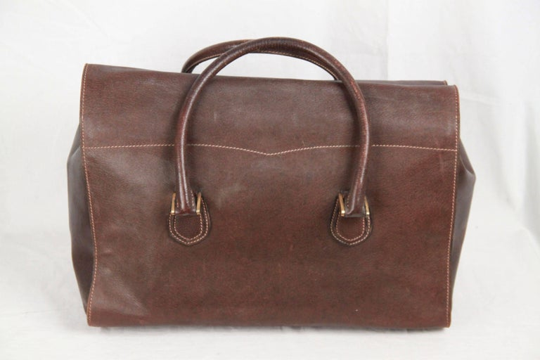 GUCCI VINTAGE Brown Leather TRAVEL BAG Weekender 5