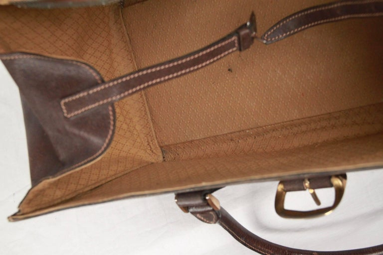 GUCCI VINTAGE Brown Leather TRAVEL BAG Weekender 10