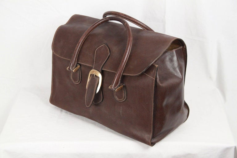 GUCCI VINTAGE Brown Leather TRAVEL BAG Weekender 6