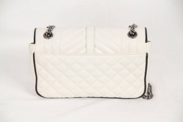 94d656271381 SAINT LAURENT White Leather TRI QUILT MONOGRAM Messenger Bag 6  master.JPG width 768