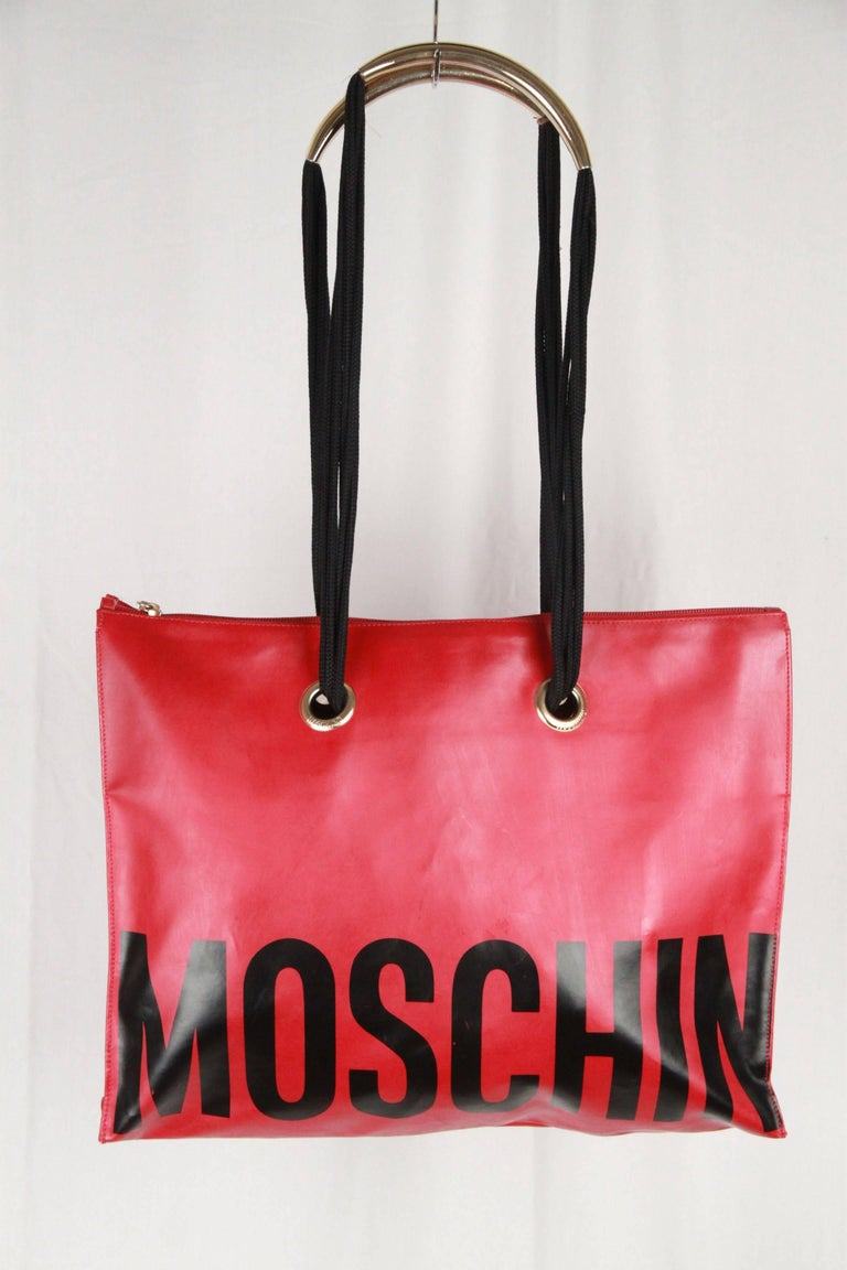 MOSCHINO Vintage Red Vinyl Canvas LOGO TOTE For Sale 1