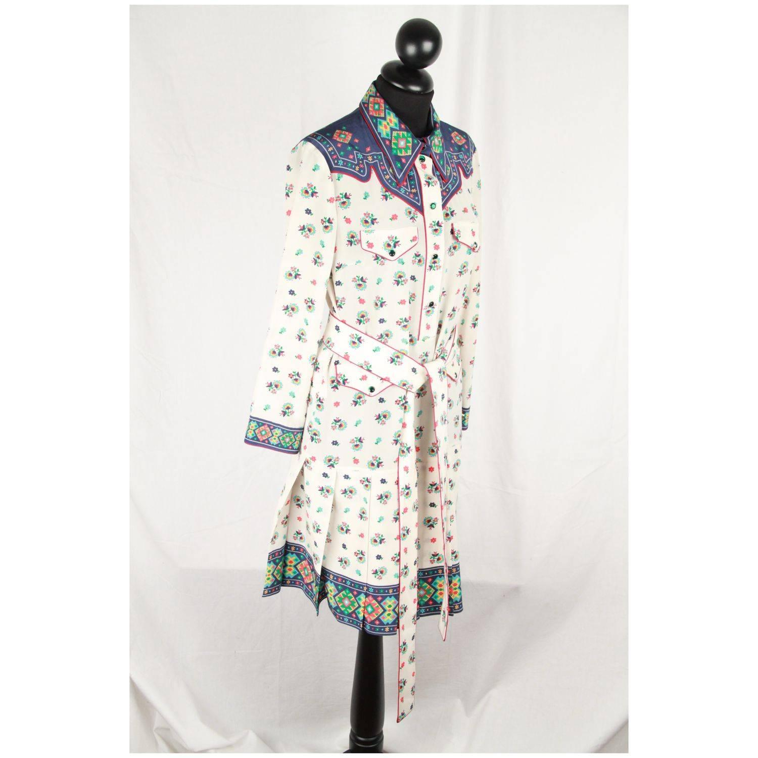 Gucci Multicolor Silk Shirt Dress Long Sleeve For Sale At 1stdibs