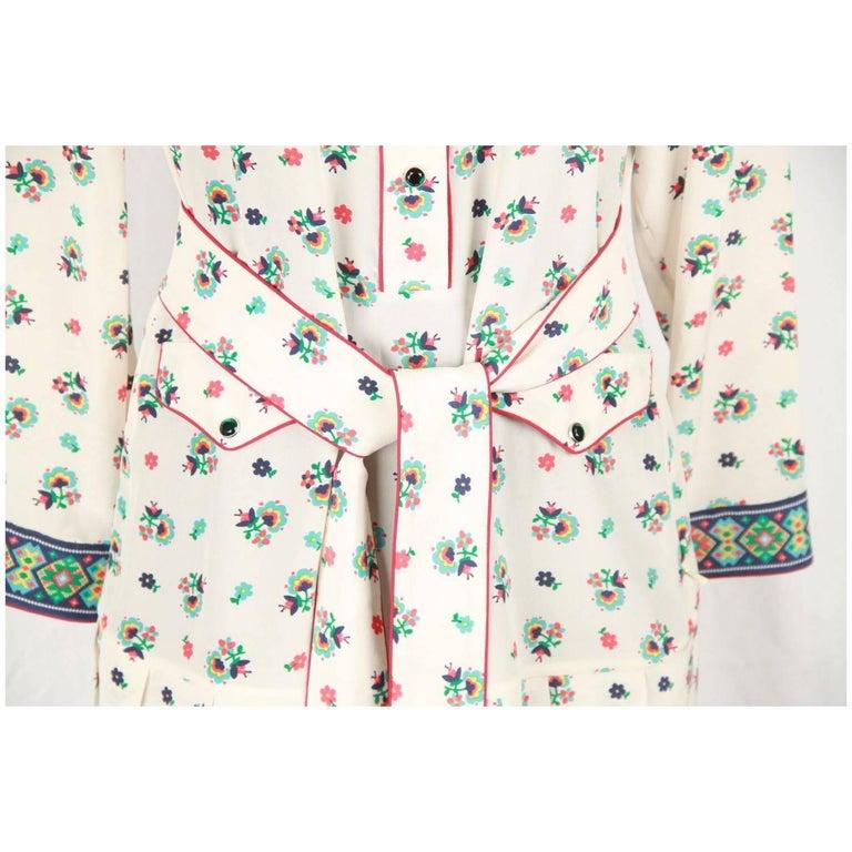 c606b5302 Beige GUCCI Multicolor Silk SHIRT DRESS Long Sleeve For Sale