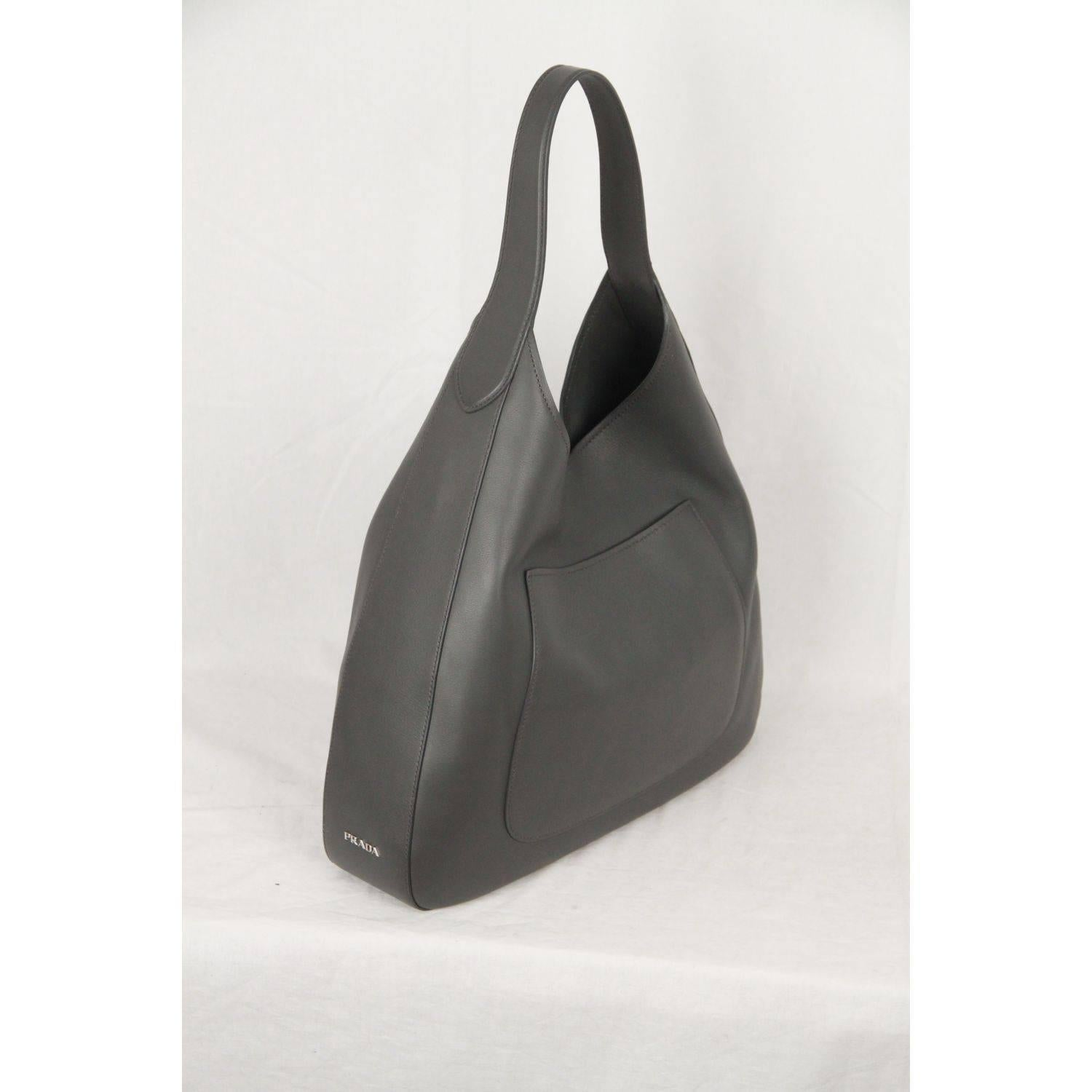 f3b30d52989f4a ... free shipping prada gray vitello corsica leather large hobo bag 1bc009  for sale at 1stdibs 76596