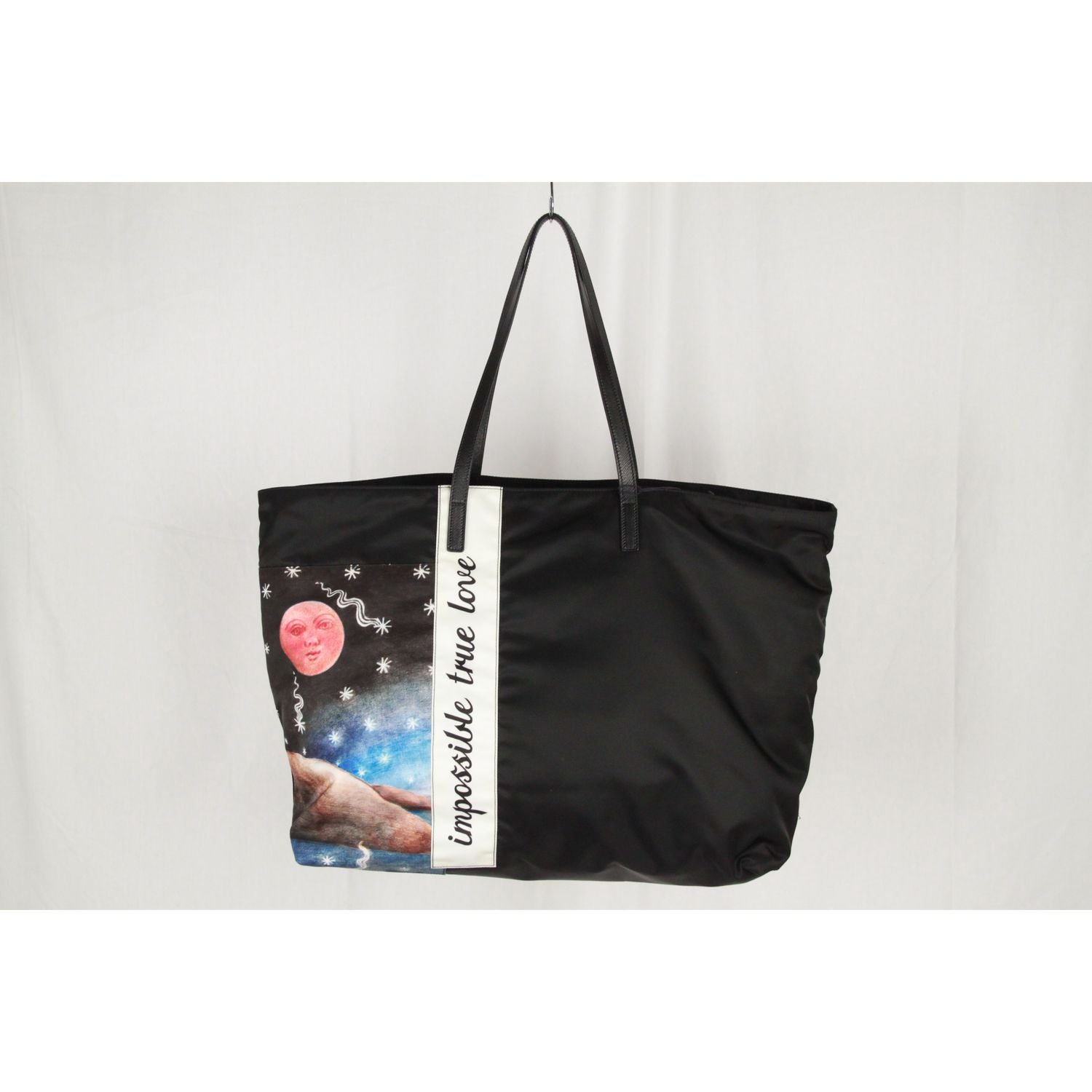 1119b35f09bb Prada Black Tessuto Collage Impossible True Love Large Tote