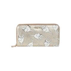 Mu Miu Gold Metal Leather Cat Print Duchesse Zip Wallet Purse