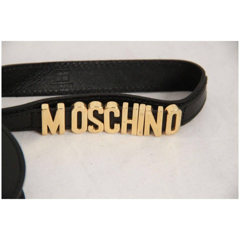 Moschino Vintage Black Leather Heart Wrist Bag For Sale 1