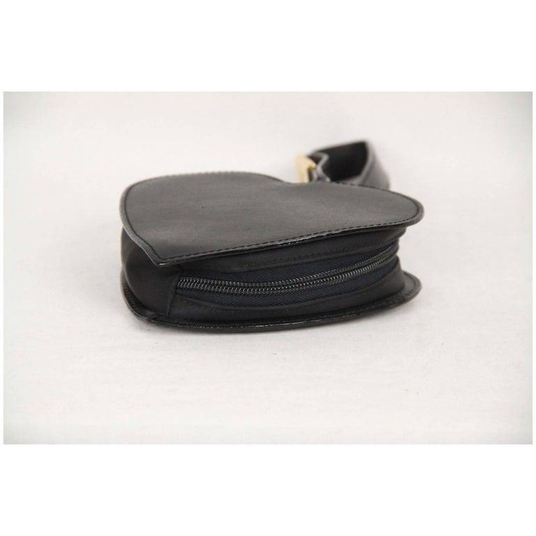 Moschino Vintage Black Leather Heart Wrist Bag 7