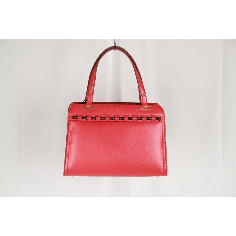 Gucci Vintage Red Leather Handbag W Bamboo Detail Rare