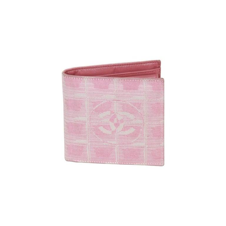 CHANEL Pink TRAVEL LINE Jacquard Canvas BIFOLD WALLET w/ CC LOGO