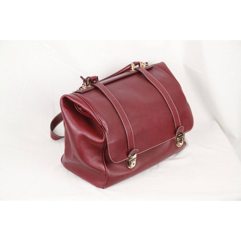 1stdibs Pineider Burgundy Leather Tri Bag Multilevel Closure Travel Bag NqeyLodPlh