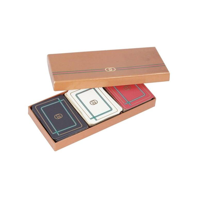 GUCCI Vintage 3 Decks FRENCH PLAYING CARDS w/ Box