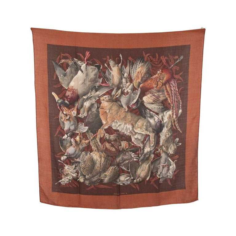 HERMES Vintage Cashmere & Silk Scarf GIBIERS 1966 Henry De Linares (90x90)