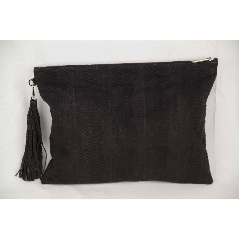 1stdibs Elizabeth Weinstock Black Snakeskin Positano Large Clutch kScq55X
