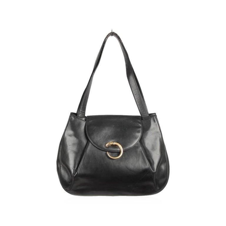 CARTIER PARIS Vintage Black Leather PANTHERE Line Large Tote Shoulder Bag