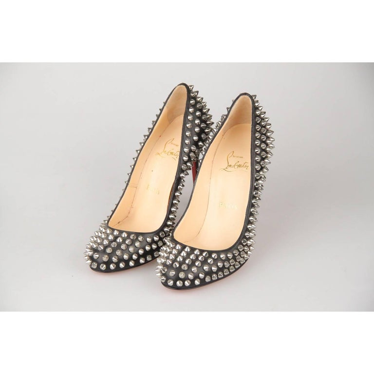 free shipping b4df0 797f1 CHRISTIAN LOUBOUTIN Black Leather Fifi Spikes 100 Pumps Shoes 36.5