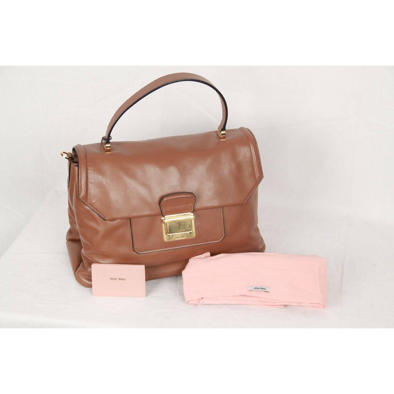 1stdibs Miu Miu Tan Vitello Soft Leather Satchel With Strap Rn1078 CGFpo