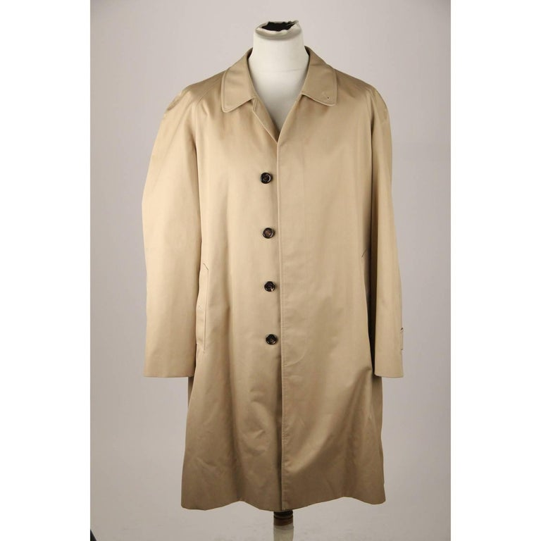 Beige BURBERRY Tan Cotton Blend Classic Trench Coat Size 52 R For Sale