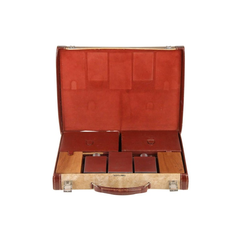 HERMES Vintage Leather TRAVEL GROOMING SET with TOILETRY Pieces