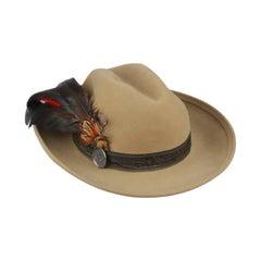 HERMES PARIS Exclusif Vintage Beige Wool Feather Fedora Hat