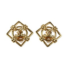 CHANEL Vintage Gold Metal Square Clip On CC Logo Earrings