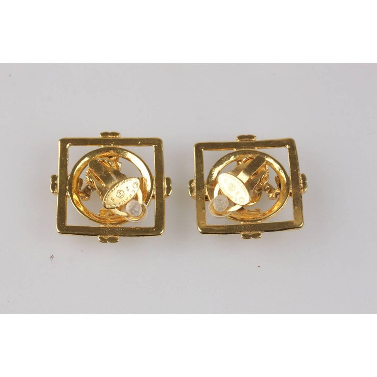 Women's or Men's CHANEL Vintage Gold Metal Square Clip On CC Logo Earrings For Sale