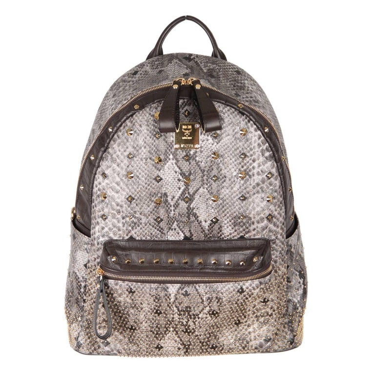 MCM MUNCHEN Python Canvas Stud Armour BACKPACK Shoulder Bag