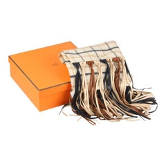HERMES Vintage Cashmere & Wool Scarf with Leather Fringes