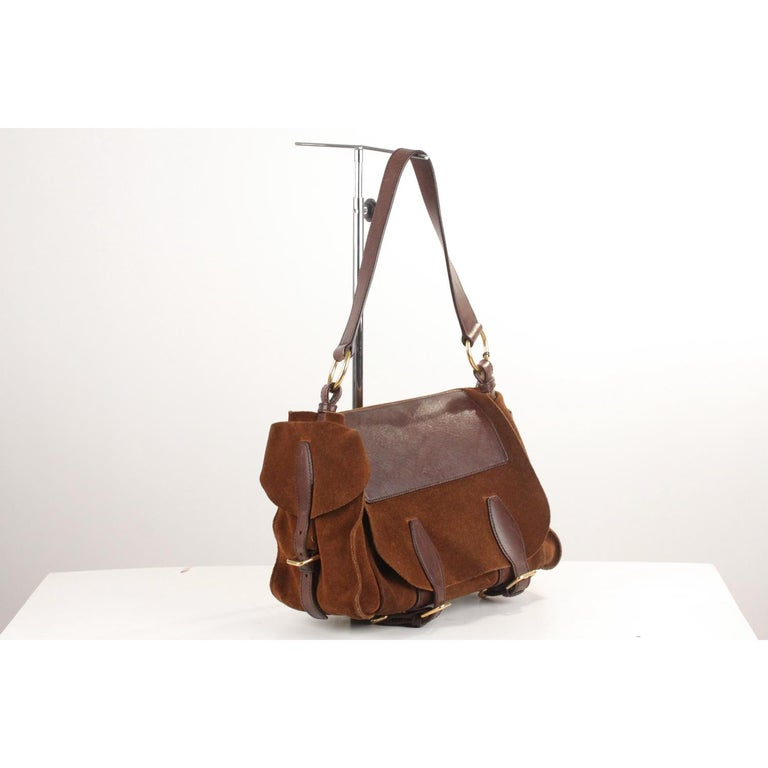 Women's Yves Saint Laurent Brown Suede and Leather Shoulder Bag For Sale