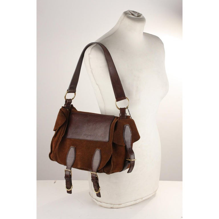 Yves Saint Laurent Brown Suede and Leather Shoulder Bag For Sale 3