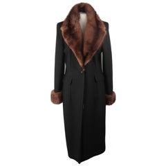 Les Copains Black Wool Tailored Coat with Mink Fur Trim Size 44
