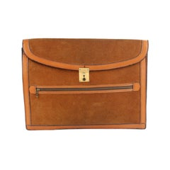 Gucci Vintage Tan Suede and Leather Portfolio Document Holder