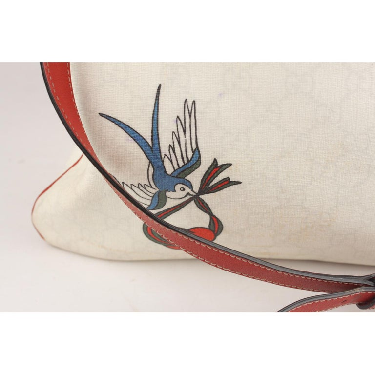 5f36f214b574 Women's Gucci White Monogram Canvas Heart Bird Tattoo Messenger Bag For Sale