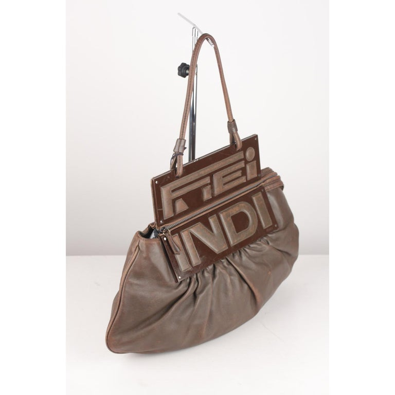 Fendi Brown Leather Convertible To You Clutch Bag Tote For Sale 1
