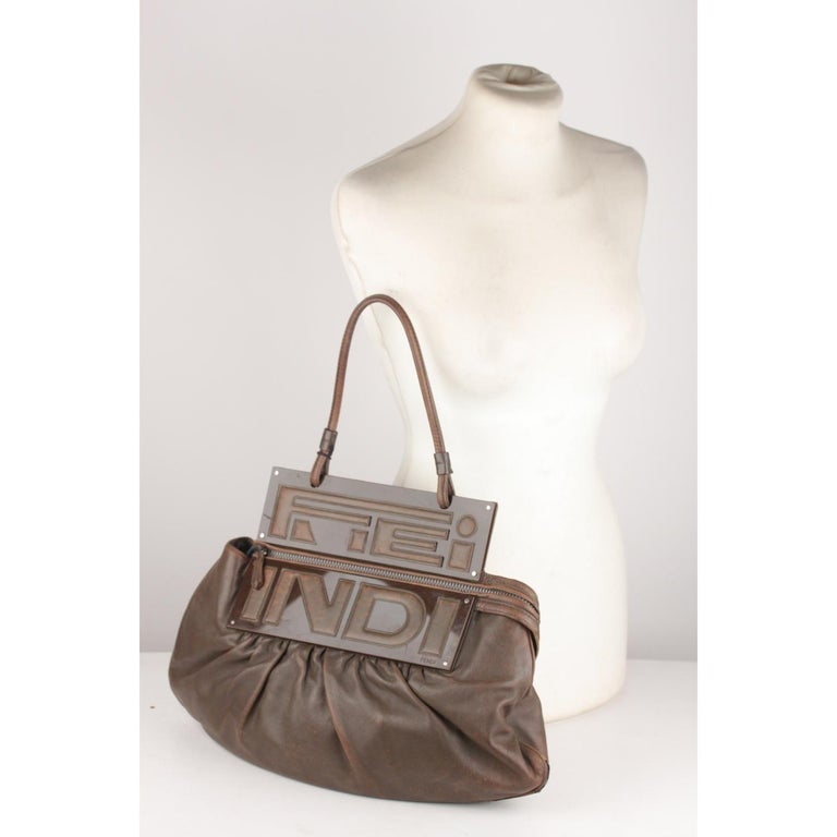 Fendi Brown Leather Convertible To You Clutch Bag Tote For Sale 5