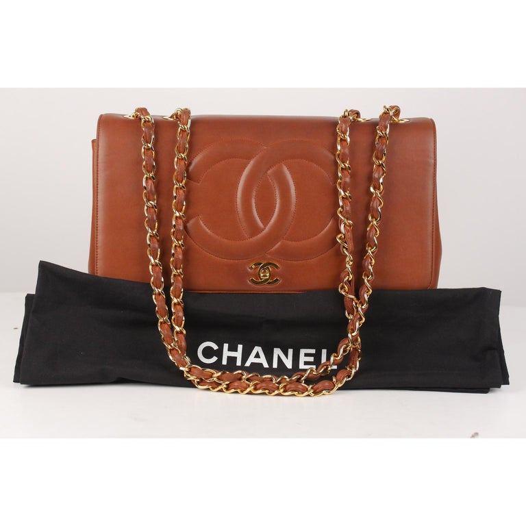 86cd01775aae Chanel Vintage Brown Quilted Leather Jumbo Shoulder Bag with CC Logo For  Sale. We offer Certificate of Authenticity provided by Entrupy for this  item at no ...