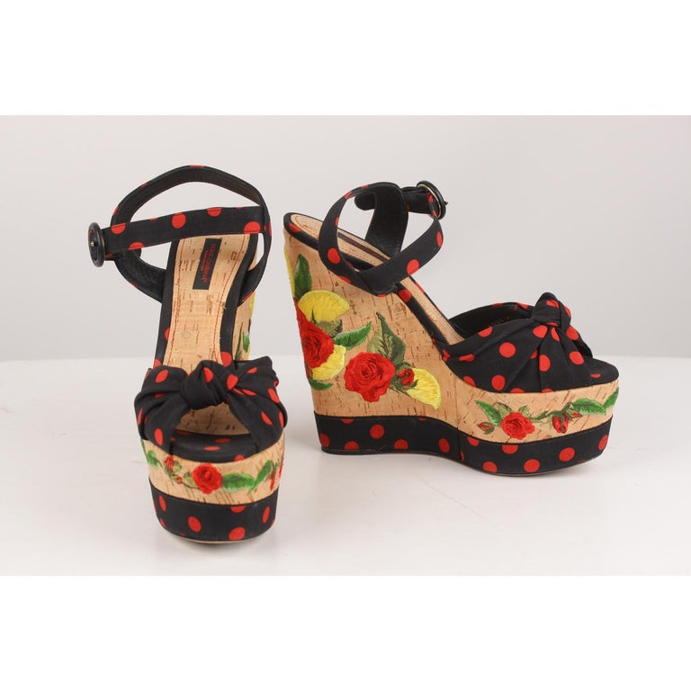 Dolce & Gabbana Polka-dot Canvas Embroidered Cork Wedge Sandals  In Good Condition For Sale In Rome, Rome