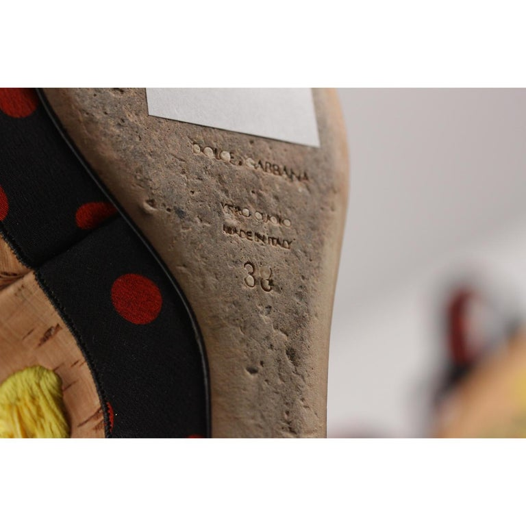 Dolce & Gabbana Polka-dot Canvas Embroidered Cork Wedge Sandals  For Sale 3