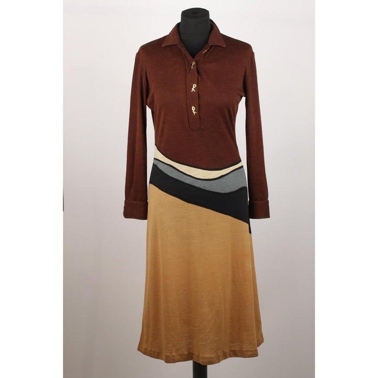 cc6a1e09a34694 Braunes langärmeliges Vintage Kleid von Roberta Di Camerino, Größe 46 2