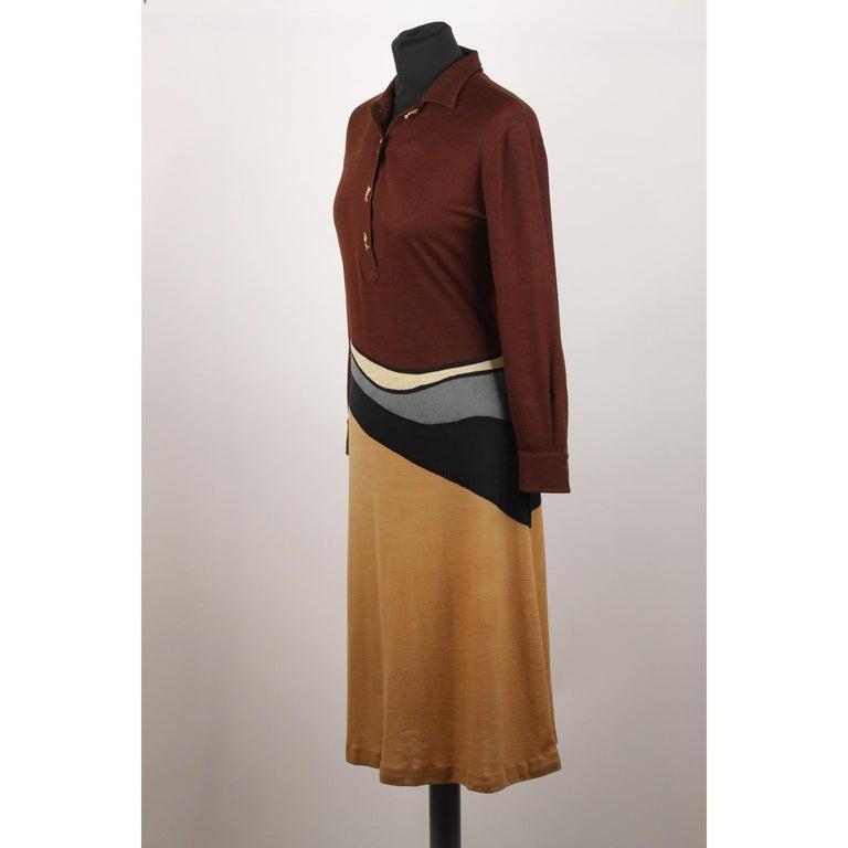 0f385c01d6794f Braunes langärmeliges Vintage Kleid von Roberta Di Camerino, Größe 46 7