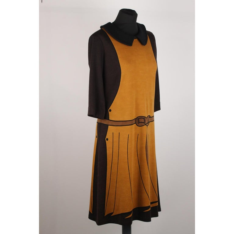 97b11966fe7eb5 Roberta Di Camerino Vintage Trompe l ' oeil 3/4 Ärmel Kleidergröße 48 5