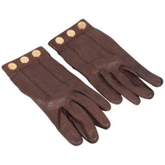 Hermes Brown Leather Women Gloves Size 6.5