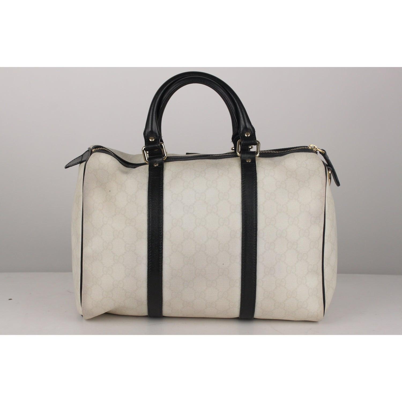 ac8586f60750 Gucci White Monogram Canvas Joy Boston Bag BlackTrim For Sale at 1stdibs