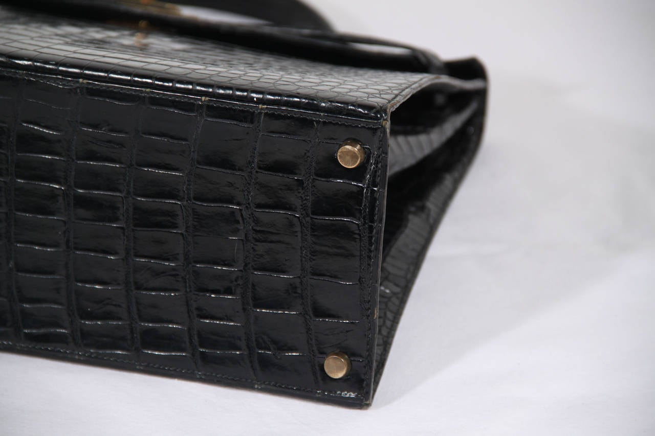 HERMES PARIS VINTAGE Black CROCODILE SKIN Leather KELLY BAG 35 ...