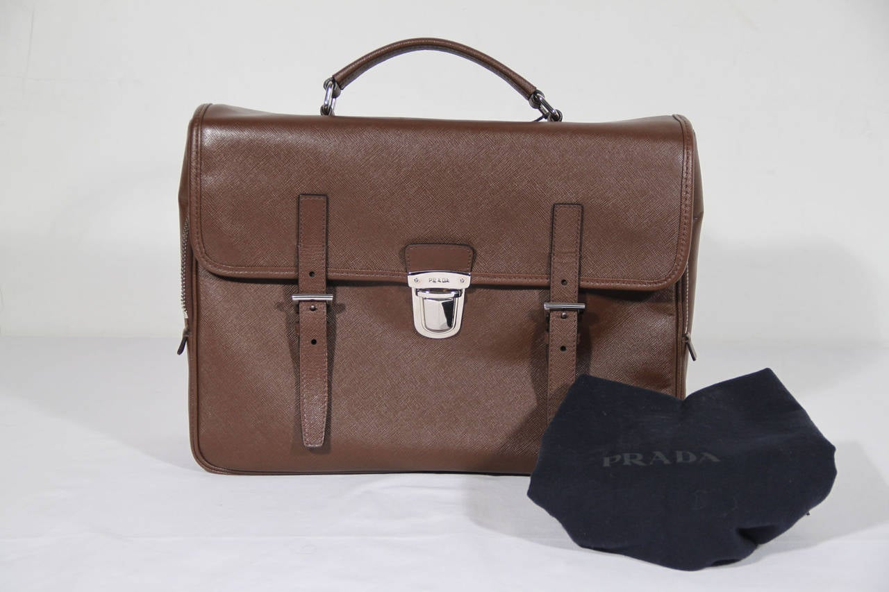 PRADA Authentic Brown SAFFIANO Leather Cartella BRIEFCASE Satchel VR0076 2