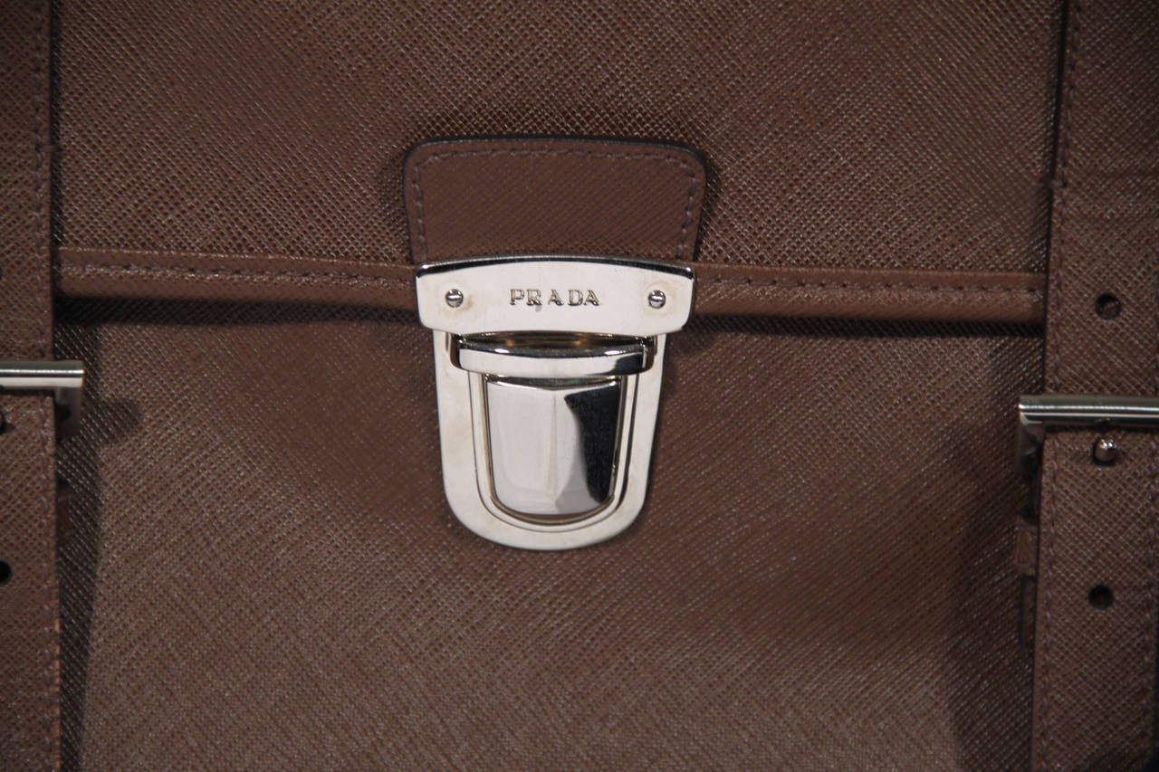 PRADA Authentic Brown SAFFIANO Leather Cartella BRIEFCASE Satchel VR0076 3
