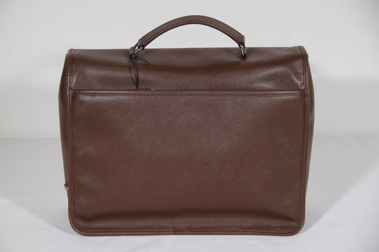 PRADA Authentic Brown SAFFIANO Leather Cartella BRIEFCASE Satchel VR0076 6