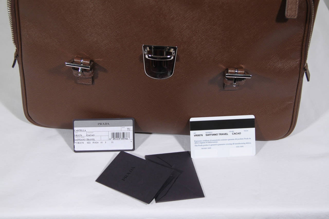 PRADA Authentic Brown SAFFIANO Leather Cartella BRIEFCASE Satchel VR0076 7