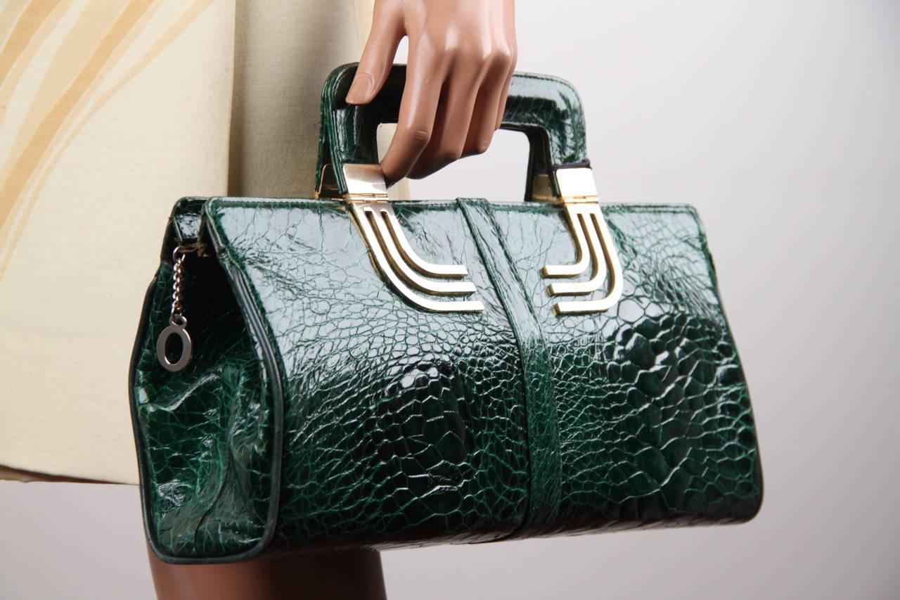 Vintage Italian Green Turtle Skin Leather Tote Handbag W